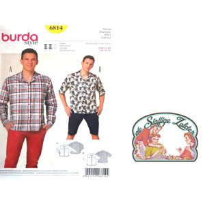 patroon Burda 6814 herenhemd