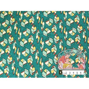 Leaves petrol green cotton