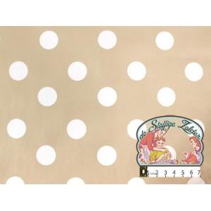 Tafelzeil beige met witte polka dots