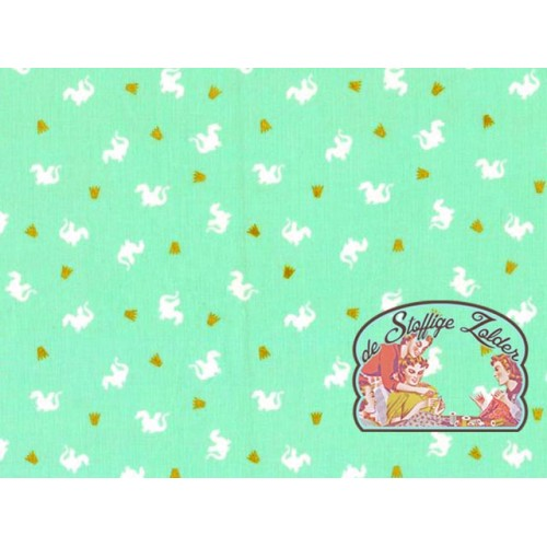 Baby dragons mint gold cotton