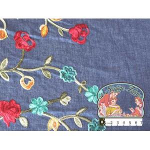 Effen jeans katoen met grote geborduurde bloemen