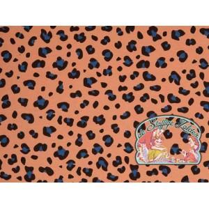 Tango leopard apricot blue canvas