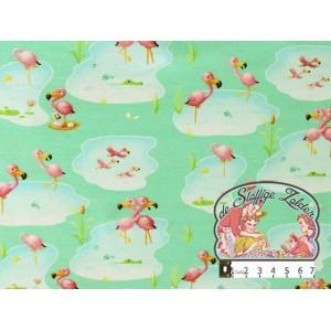 Flamingo cuddling tricot mint