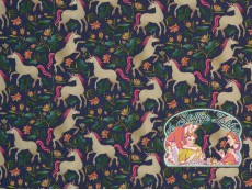 Unicorns garden navy cotton