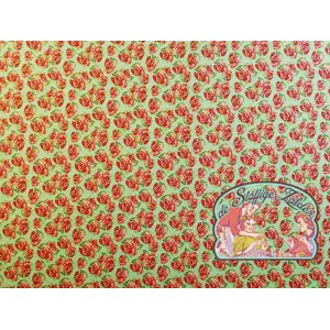 Roses green polkadot cotton