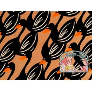 Swans voile brown cotton by Cherry Picking