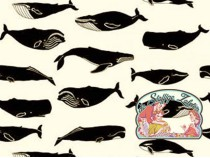 Whale pod in cream cotton