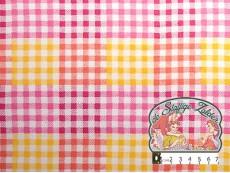 Flanel carreau roze-geel