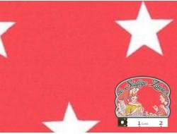Rood katoen met witte sterren