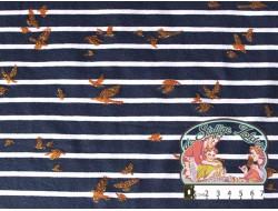Gold birds on navy stripes jersey