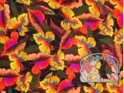 Geweven bloemen satijn viscose