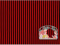 Viscose ramie rood zwart gestreept
