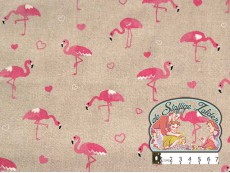 Emil flamingo hartjes linnenlook canvas