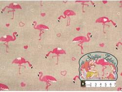 Emil flamingo hartjes linnenlook canvas