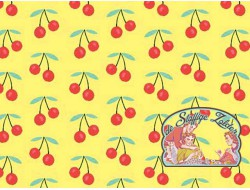 Summerlicious cherries on yellow cotton
