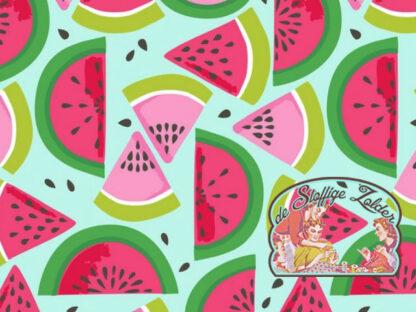 Tutti Fruitti watermelon aquablue cotton