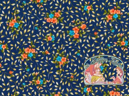 Flowers copen blue cotton