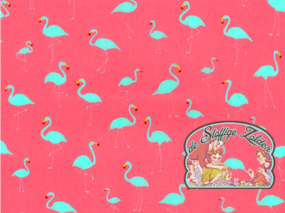 Flamingo pink/grey cotton