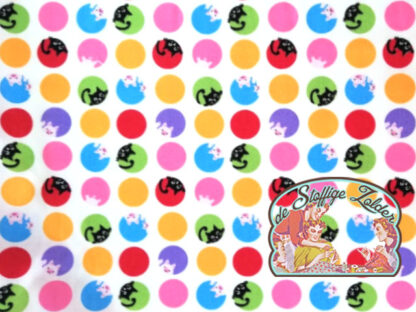 Cats 'n pigs polka dots white cotton