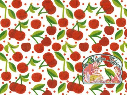 Cherries polycotton voile white
