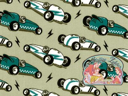 Retro petrol racecar polycotton voile grey