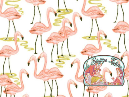 Flamingo bay gold metallic cotton