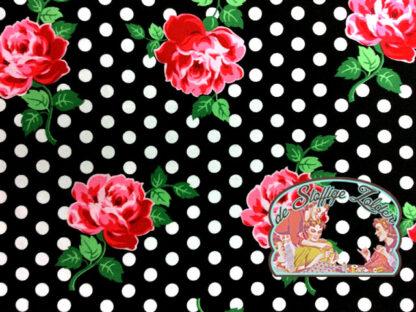 Lucy black floral dot cotton