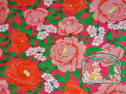 Retro flower pink stretch cotton