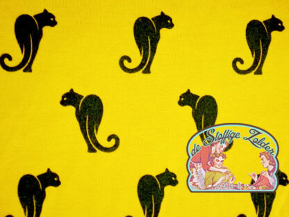 Panther cat 3D flock mustard tricot jersey