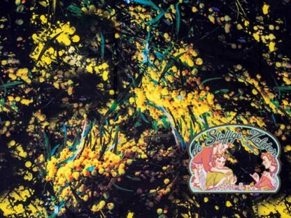 Woven yellow flower inkjet viscose
