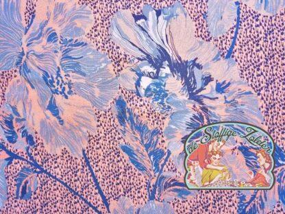 Woven flower blue viscose crepe