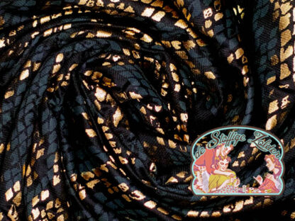 Wieber snake print glitter gold and petrol viscose