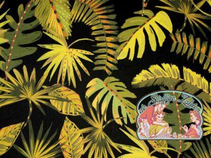 Woven bright digital tropic leaves viscose