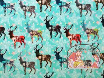 Linde herten aquablauw katoen canvas