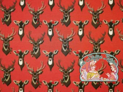 Autumn wood deer red french terry sweater