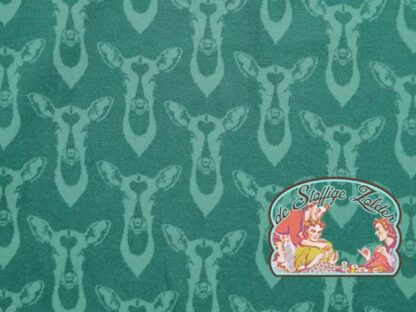 Autumn shadow deer petrol green jacquard jersey