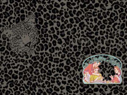 Luchtig geweven grijs luipaardprint jacquard