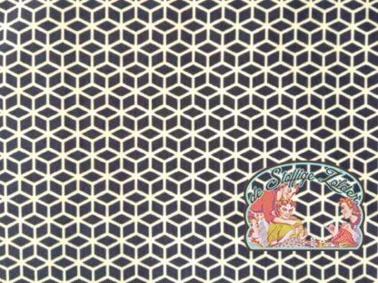 Geometrisch hexagonaal navy katoen