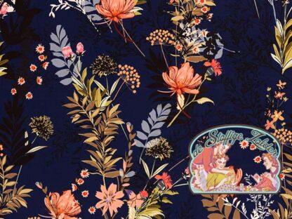 Fiete flowers navy blue softshell