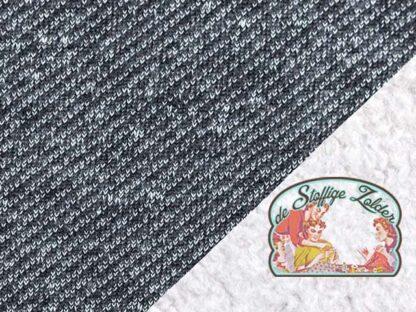 Piet navy blue melange denimlook double face cotton teddy sweater