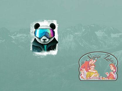 Snow panda greyblue panel tricot