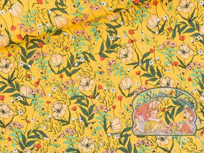 Summer Flowers dooiergeel badpakstof