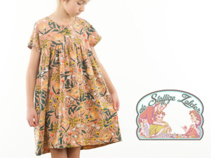 Flowers camel brown french terry