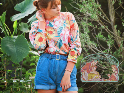 Bloom garden pink french terry sweater