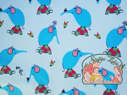 Elephants blue interlock cottonjersey tricot